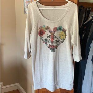 Skull love 3/4 light weight sweatshirt